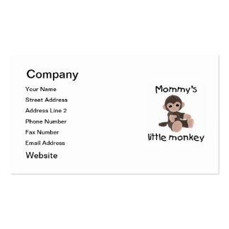 El pequeño mono de la mamá (marrón) tarjetas de visita