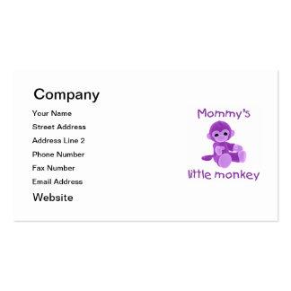 El pequeño mono de la mamá (púrpura) tarjetas de visita