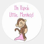 El pequeño mono de la papá - camisetas y regalos r etiqueta redonda
