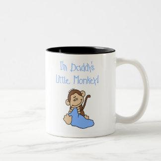 El pequeño mono del papá azul tazas de café
