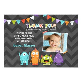 """El pequeño monstruo del cumpleaños le agradece invitación 5"""" x 7"""""""