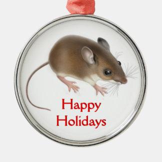 El pequeño ornamento del personalizable del ratón adorno redondo plateado