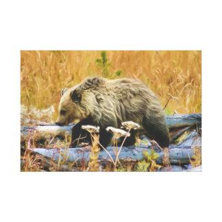 El pequeño oso grizzly Cub del explorador Impresiones En Lona