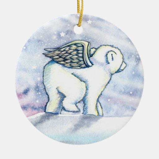 El pequeño oso polar Cub adorna Adorno Navideño Redondo De Cerámica