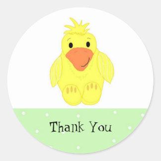 El pequeño pato amarillo le agradece pegatina redonda
