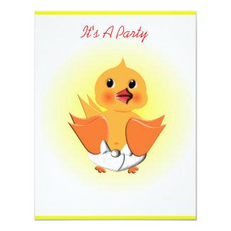 El pequeño pato lindo embroma invitaciones de la invitación 10,8 x 13,9 cm
