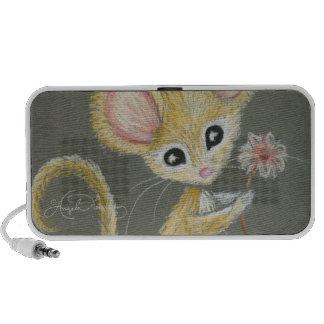 El pequeño ratón laptop altavoz
