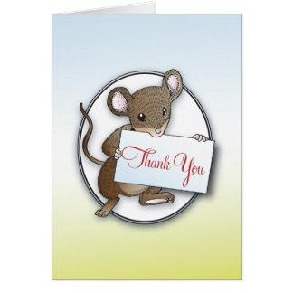 El pequeño ratón le agradece cardar tarjeta pequeña