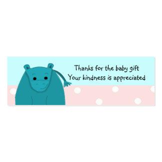 El pequeño regalo del bebé del hipopótamo le tarjetas de visita mini