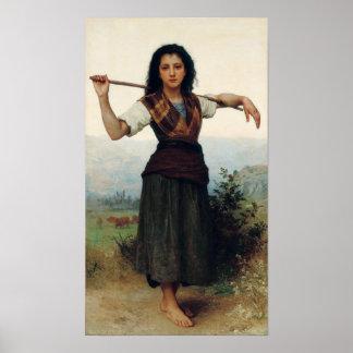 El pequeño Shepherdess por Bouguereau Póster