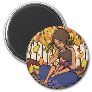 El pequeño soñador - madre y niño imán redondo 5 cm