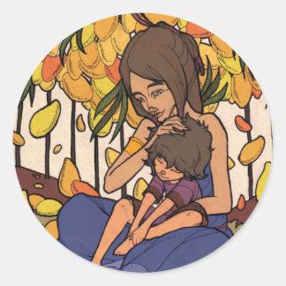 El pequeño soñador - madre y niño pegatina redonda