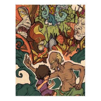 El pequeño soñador - narrador y el niño tarjeta postal