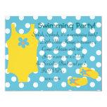 El pequeño Swimsiut amarillo Invitación 10,8 X 13,9 Cm