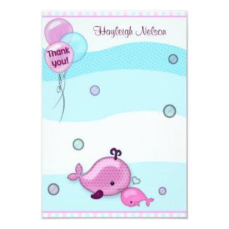 """El pequeños bebé y mamá de la ballena le agradecen invitación 3.5"""" x 5"""""""