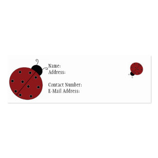 El perfil de la mariquita enrarece la tarjeta tarjetas de visita mini