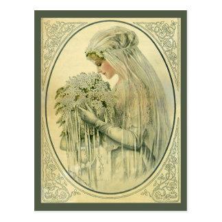 ¡El perfil de la novia del Victorian del vintage, Postales