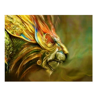 El perfil principal del león místico de la fantasí postales