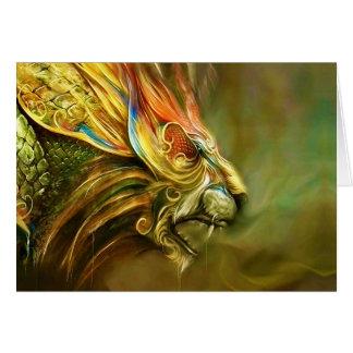 El perfil principal del león místico de la tarjeta de felicitación