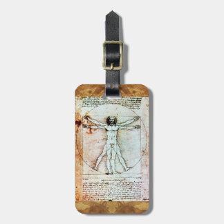 El pergamino de la antigüedad del HOMBRE de VITRUV Etiqueta De Equipaje