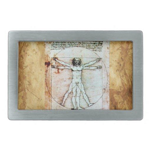 El pergamino de la antigüedad del HOMBRE de VITRUV Hebillas De Cinturón Rectangulares