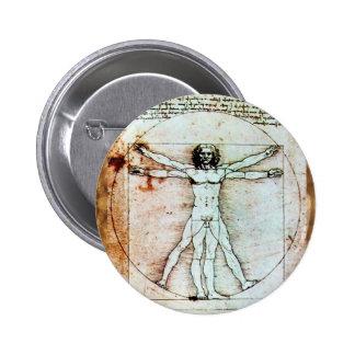 El pergamino de la antigüedad del HOMBRE de VITRUV Pin Redondo De 2 Pulgadas