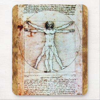 El pergamino de la antigüedad del HOMBRE de VITRUV Alfombrillas De Ratones