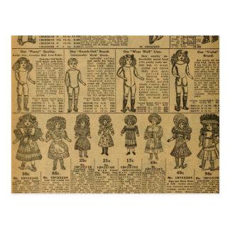 El periódico de la publicidad del vintage juega postales