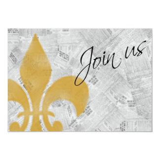 """El periódico descolorado New Orleans de la flor de Invitación 5"""" X 7"""""""