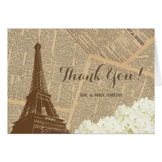 El periódico viejo de la torre Eiffel de los pares Tarjeta Pequeña