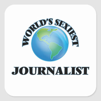 El periodista más atractivo del mundo calcomanía cuadradase