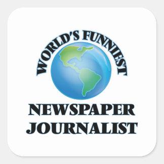 El periodista más divertido del periódico del pegatina cuadrada