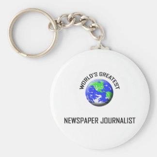 El periodista más grande del periódico del mundo llavero redondo tipo pin