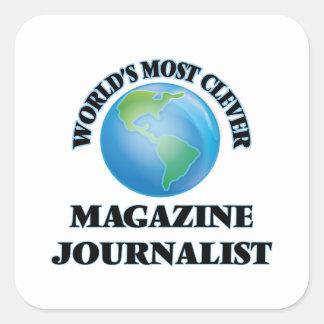 El periodista más listo de la revista del mundo pegatina cuadrada