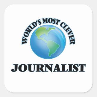 El periodista más listo del mundo pegatina cuadrada