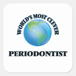 El Periodontist más listo del mundo Calcomanías Cuadradas Personalizadas
