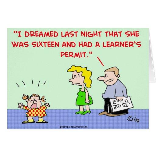 el permiso del principiante tarjeta de felicitación