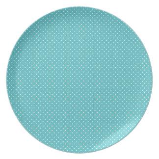 El perno del lunar puntea el modelo azul elegante  platos para fiestas
