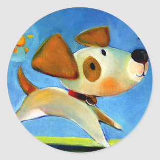 El perrito 1 de los niños de Trish Biddle de 3 Pegatina Redonda