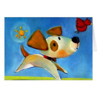El perrito 1 de los niños de Trish Biddle de 3 Tarjeta De Felicitación