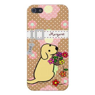 El perrito amarillo personalizado de Labrador flor iPhone 5 Funda