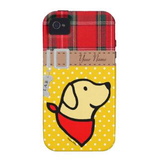 El perrito amarillo personalizado del laboratorio Case-Mate iPhone 4 carcasas