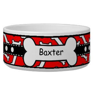 El perrito de Bow Wow deshuesa rojo y negro colori Tazones Para Perrros