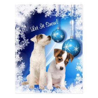 El perrito de Jack Russell lo dejó nevar el diseño Tarjeta Postal