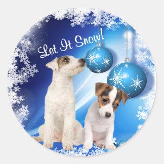 El perrito de Jack Russell Terrier lo dejó nevar Etiquetas Redondas
