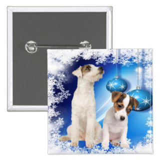 El perrito de Jack Russell Terrier lo dejó nevar Pin Cuadrado