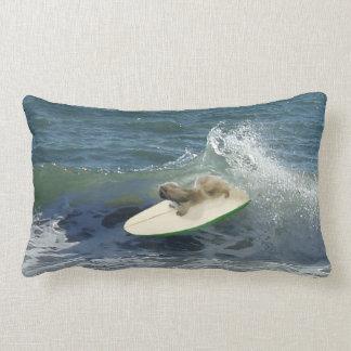 El perrito de Pekingese va a practicar surf la alm Cojines