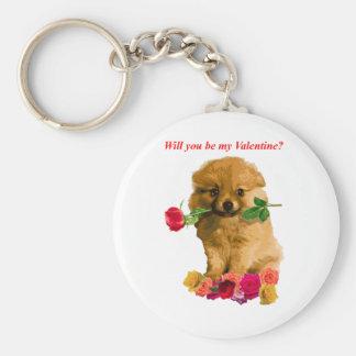 El perrito de Pomeranian sea mis rosas de la tarje Llavero Redondo Tipo Pin