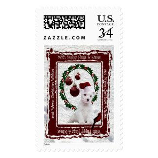 ¡El perrito de Westie abraza y besa deseos Timbre Postal