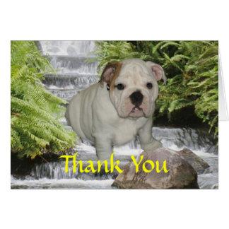El perrito del dogo le agradece cardar tarjeta de felicitación